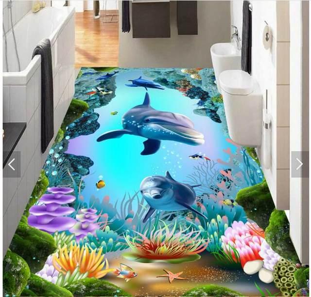 3d Pvc Flooring Bedroom Custom Photo Waterproof Floor Sticker Waterfall Sea World Cave Fish Painting Wallpaper For Walls