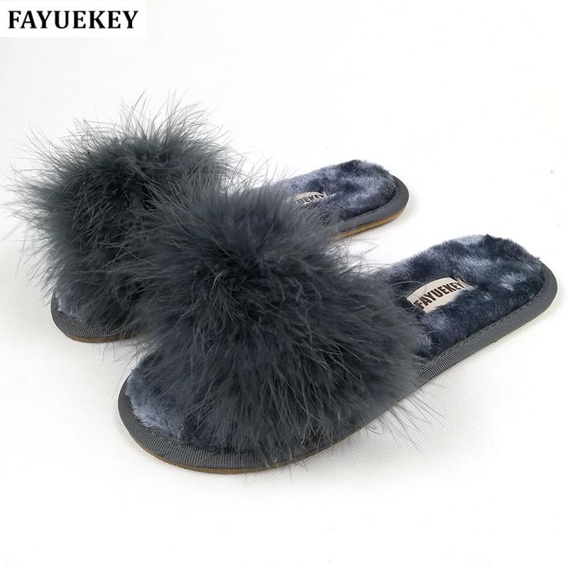 FAYUEKEY 2018 नई 7 रंग वसंत गर्मियों शरद ऋतु सर्दियों घर कपास आलीशान चप्पल महिलाओं इंडोर  तल फ्लैट जूते मुफ्त शिपिंग