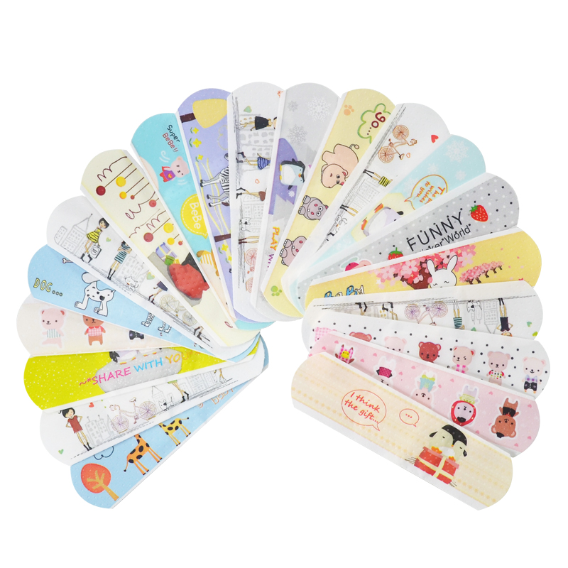 100PCs Waterproof Breathable Cute Cartoon Band Aid Hemostasis Adhesive Bandages First Aid Emergency Kit For Kids Children ...