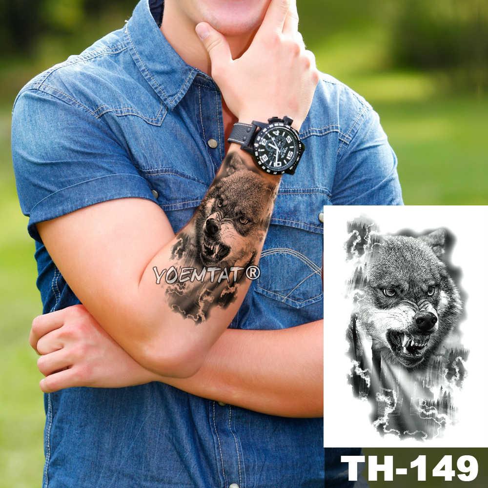 Tahan Air Sementara Tato Stiker Line Minimalis Pola Serigala Air Transfer Man Body Art Flash Palsu Tato