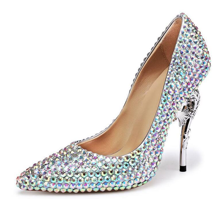 Strass Femmes Pompes 2018 Pointu Cm Cristal De Bout 11cm Mariée Mariage 11 Talons Hauts Cendrillon Talon 11 Chaussures En Nouveau 5cm Femme pp50qzY