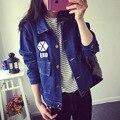 EXO baekhyun chanyeol elecmit с студенческая весна свободные тонкие джинсовые куртки короткие джинсы вокруг