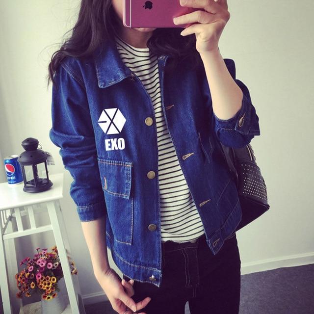 EXO baekhyun elecmit chanyeol with spring students loose thin denim jacket short jeans around