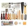 Leder Handwerk Werkzeuge 37 Pcs Kit Hand Nähen Stitching Schlag Schnitzen Arbeit Sattel DIY Leathercraft Nähen Set Geschenk-in Lederhandwerk-Werkzeugsets aus Heim und Garten bei