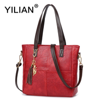 YILIAN Gato Bonito Mulheres Bolsa Multifuncional de Couro Borla Saco com Grande Capacidade Clássico Preto Vermelho PU Bolsa de Moda Sacos de 706