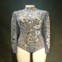 Sparkly Silver Rhinestones Sequins Mesh Bodysuit Women's Celebrate Festival Outfit Nightclub Female Singer Sexy Stage Jumpsuit