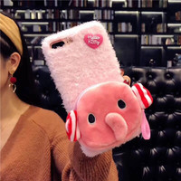 Novelty 3D Elephant Money Pocket Soft Silicone Coque Funda For IPhone8 8PLus Cartoon Protective Shell Mobile
