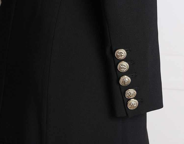 Nueva moda de alta calidad 2018 vestido de diseñador de pasarela elegante de manga larga con botones dobles vestido de oficina Blanco/ negro