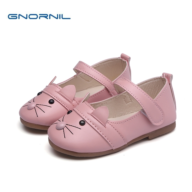 28aa3b12b27 Los niños zapatos de las muchachas 2018 otoño gato precioso conejito  princesa plana PU cuero niño