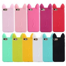 3D koko cute Ear Cat Soft Silicone Phone Case Control Switch Button Cover For Apple 4s 5c 5s 6 6s Rubber Cell Phone Cases JS0511