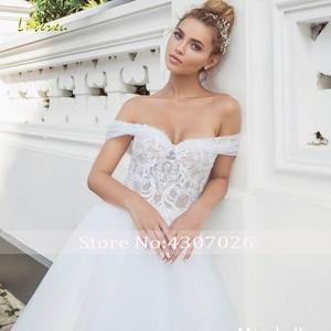 Image 3 - Loverxu Sweetheart A Line Wedding Dress Elegant Applique Off The Shoulder Backless Bride Dress Sweep Train Bridal Gown Plus Size
