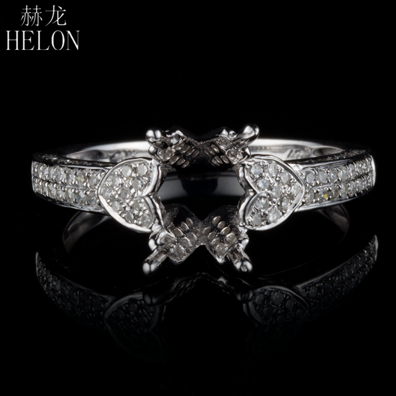 HELON Solid 14K (585) White Gold 7x9mm Oval / 6x8mm Emerald Cut Semi Mount 0.45ct Natural Diamonds Engagement Fine Jewelry Ring vintage oval 7x9mm solid 18kt white gold diamond semi mount pendant wholesale fine jewelry for girl wp025