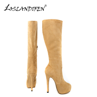 Fashion Casual Women Winter Knee High Boot Ladies Flock Round Toe Platform Mid Calf Knee Wide