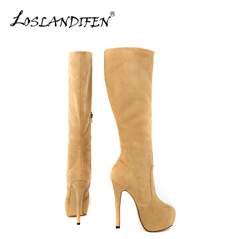 ФОТО Fashion Casual Women Winter Knee-High Boot Ladies Flock Round Toe Platform Mid Calf Knee Wide Leg Suede Long Boots Shoes 819-6VE