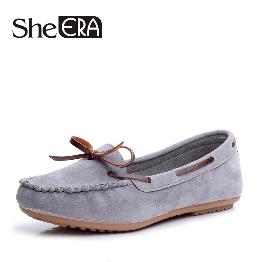 She Era Candy Colors Loafers Casual   Leather   Shoes Woman Bowtie Slip On Flats Spring Soft Moccasin Platform Women Shoes