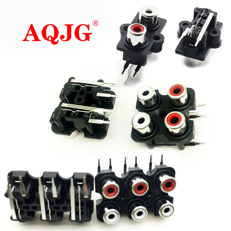100pcs PCB Mount 2 4 6 Position Stereo Audio Video Jack RCA Female RCA Female Stereo audio Jack AV Audio input socket Connector ...