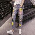 Europa Primavera Tiro Código Denim Haren Calças Soltas Mendigo Calças jeans Reta Fêmea doce encantador sorriso dos desenhos animados batatas fritas