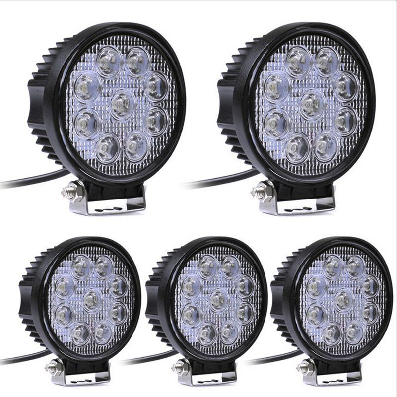 2pcs 12V 24V 27W LED Car Work Light Bar Motorcycle Lamps Spot LED Light Bar LED Car Foglight for Off Road For Jeep VW Toyota h16 11w 360lm 6000k 5 led white foglight for car dc12 24v