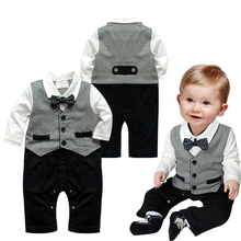 0-18Months/Spring Autumn Baby Costume Clothes Gentleman Stripe Jumpsuits 100% Cotton Newborn Boys Rompers Infant Clothing BC1282