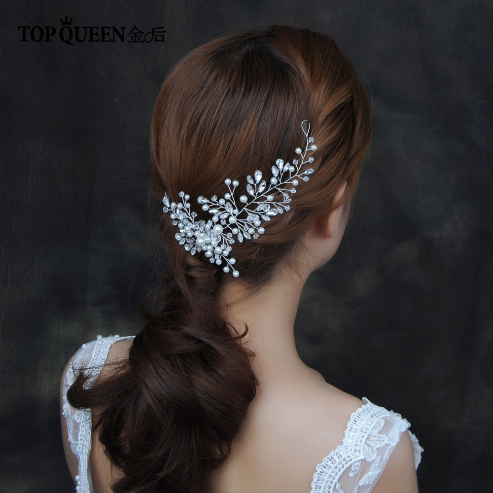 TOPQUEEN HP84 Bride Headdress With Rhinestone Bridal Head Vine Bridal Headband Wedding Headpieces Hair Ornaments For Women