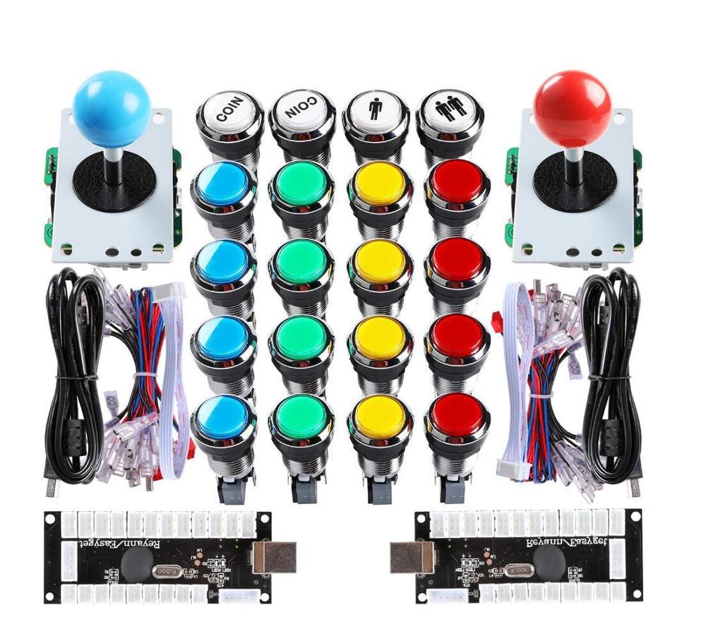 Nova arcada mame diy kits peças zero atraso usb codificador pc + 4/8 way joystick 20 x led botões de prata para raspberry pi