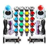 Nueva sala MAME Kits de bricolaje a cero retraso USB PC codificador + 4/8 forma Joystick + 20 X LED plateado botones para Raspberry Pi