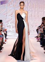 2017 vestidos de festa front split chiffon evening gowns cheap black and white long evening dresses.jpg 200x200