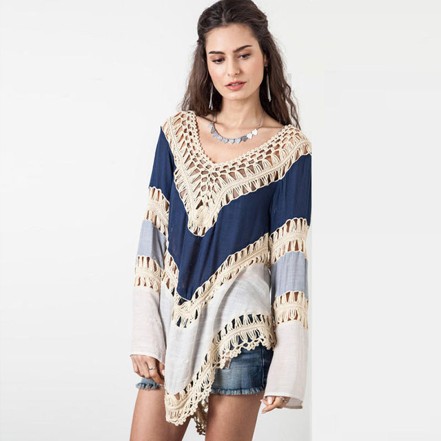 Crochê Sexy Pullover Poncho Das Mulheres Oco Out Sweater Mulheres Puxar Femme Com Decote Em V Das Mulheres Jumpers Outono Boemia Capas E Ponchoes