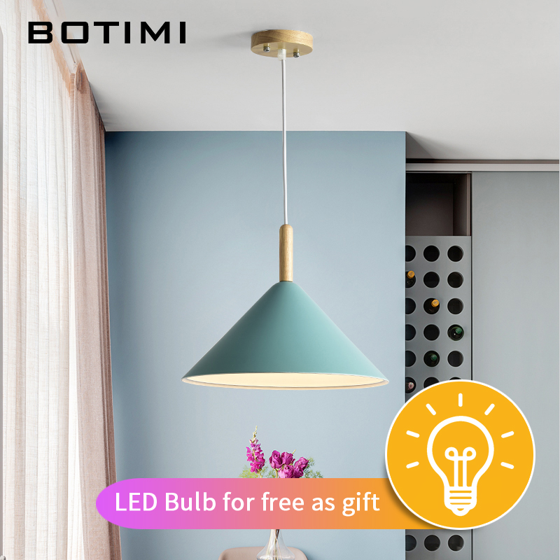 BOTIMI LED Pendant Lights For Dining Kitchen Colorful Lampadario Nordic Hanging Lamp Restaurant Luminaria Wooden Light FixtureBOTIMI LED Pendant Lights For Dining Kitchen Colorful Lampadario Nordic Hanging Lamp Restaurant Luminaria Wooden Light Fixture