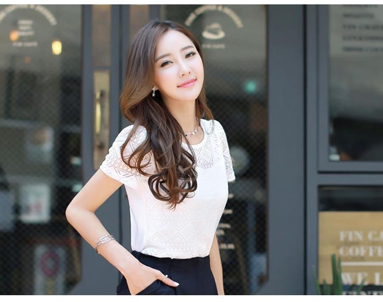 Blusas de encaje de ganchillo femenino Slim