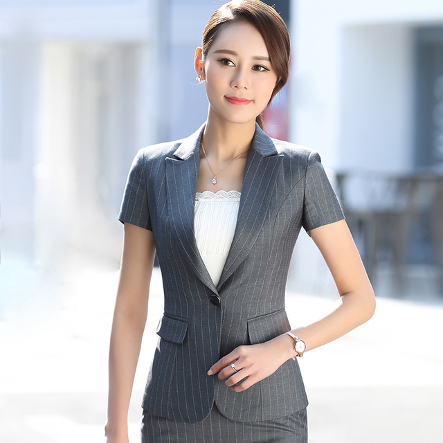 Women Gray Blazer Set Two Pieces Pants Suits Summer Ladies Formal