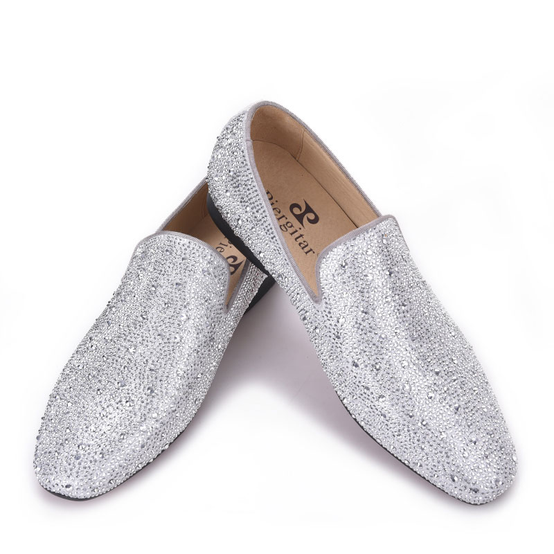 Men Loafers Rhinestone Casual Shoes Surom Men's Silver Slip-On Genuine-Leather Fashion