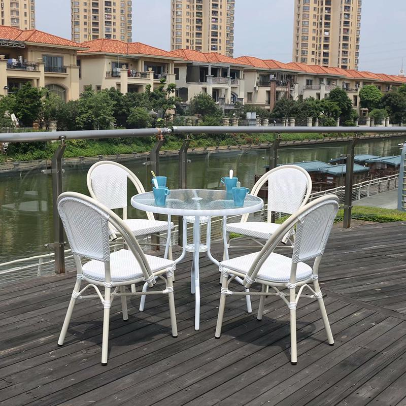 Nordic simple outdoor garden garden table and chair steel aluminum rattan coffee shop chair five-piece table and chair(China)