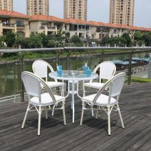 Скандинавский простой открытый садовый стол и стул стальной алюминиевый ротанг Кофейня стул из пяти частей стол и стул