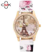 Spring 2016 Shipping New Vintage Paris Eiffel Tower Women's Quartz Watch Women Girls Ladies Students Casual Wristwatch Relojes