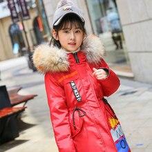 Girls Colorful Print Down Parkas Children Winter Thicken Fur Collar Long Outerwear Teenager Boys Warm Duck Down Snowsuit AA51889
