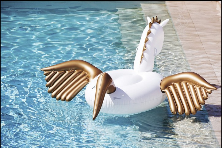 Летний Отдых 2.5 м 98in плавание кольцо бассейн Надувные Единорог Пегас Воды Плавает Поплавок Белый Единорог Воду Плоты