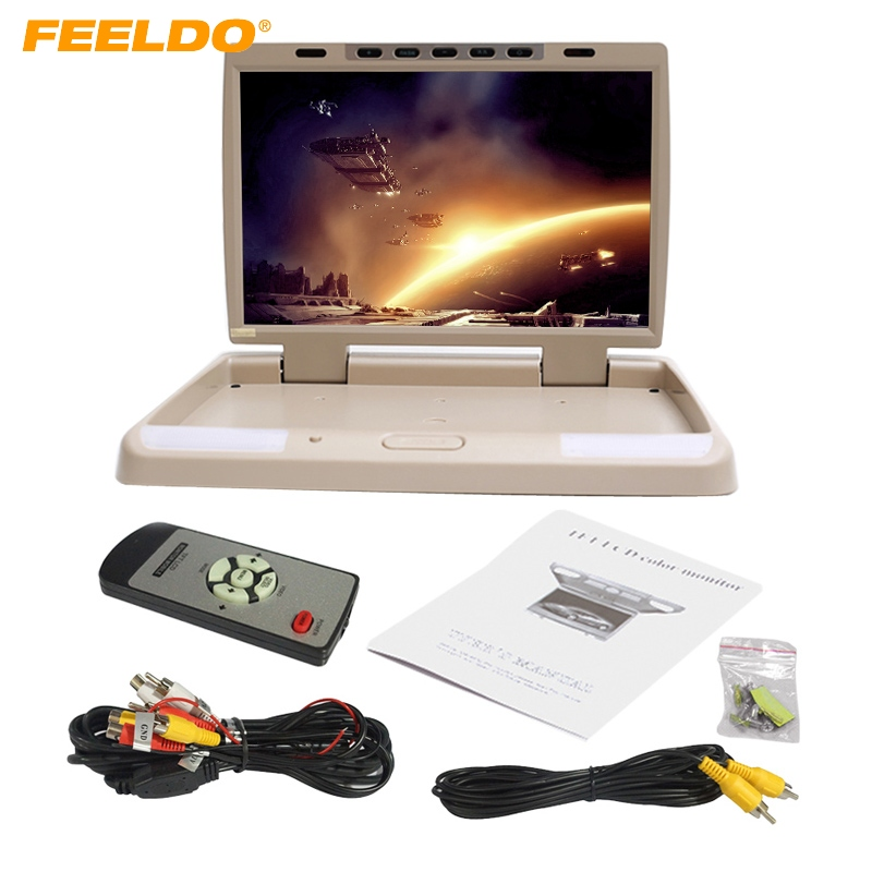 FEELDO DC12V 15.4 Inch Car/Bus TFT LCD Roof Mounted Monitor Flip Down Monitor 2-Way Video Input 3-Color