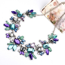 2017 New Fashion Women Fresh Wild Delicate Clavicle Necklaces Rhinestone Floral Design Chains Women Jewelry Accessory All-Match