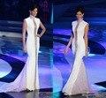 Miss Universo Vestidos Blanco Cuello Alto Bling Cristales Cap Manga Sexy Media Larga Escarpada Blanco Evennig Vestidos