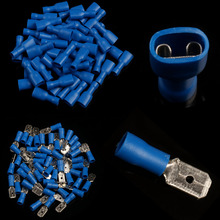 цена на 200PCS Blue Assorted Female + Male Bullet Butt Connector Insulated Crimp Wire Terminals kit 16-14 AWG