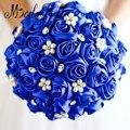 Buquê de Casamento Broche de Pérolas de Cristal Azul Royal Roxo/Dama de honra de Cetim Rosa Vermelha Buquês de Noiva Nupcial Mão Flor Ramo De Novia 2017