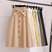 Женские модные юбки, Женская юбка с высокой талией, весенние летние юбки средней длины, женские юбки трапециевидной формы с эластичным поясом