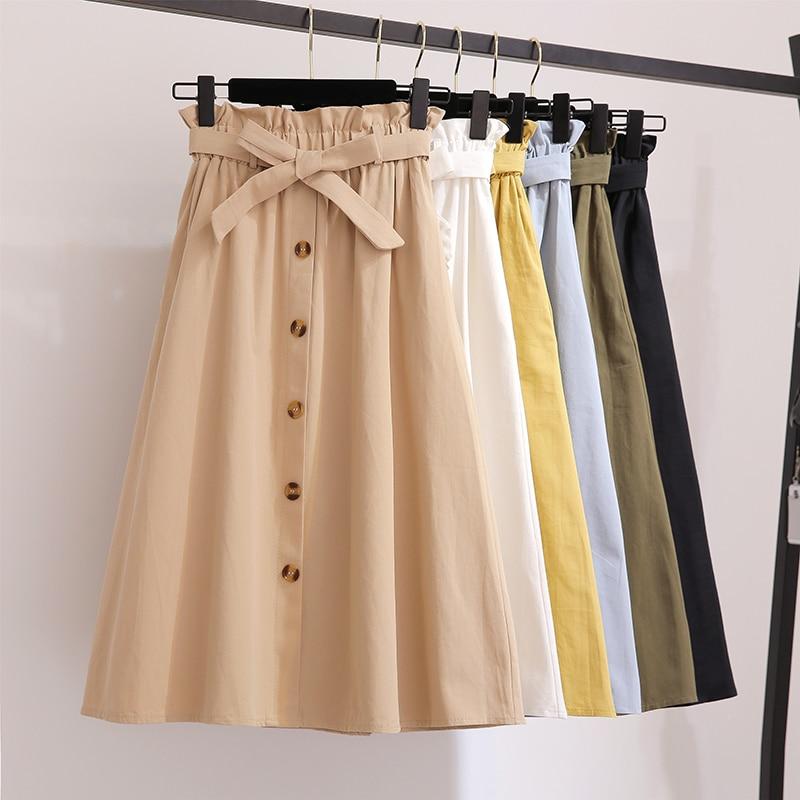 Women Skirts Fashion 2019 High Waist Skirt Women Spring Summer Midi Skirts Womens Elastic Waist A Line Ladies Skirts With Belt