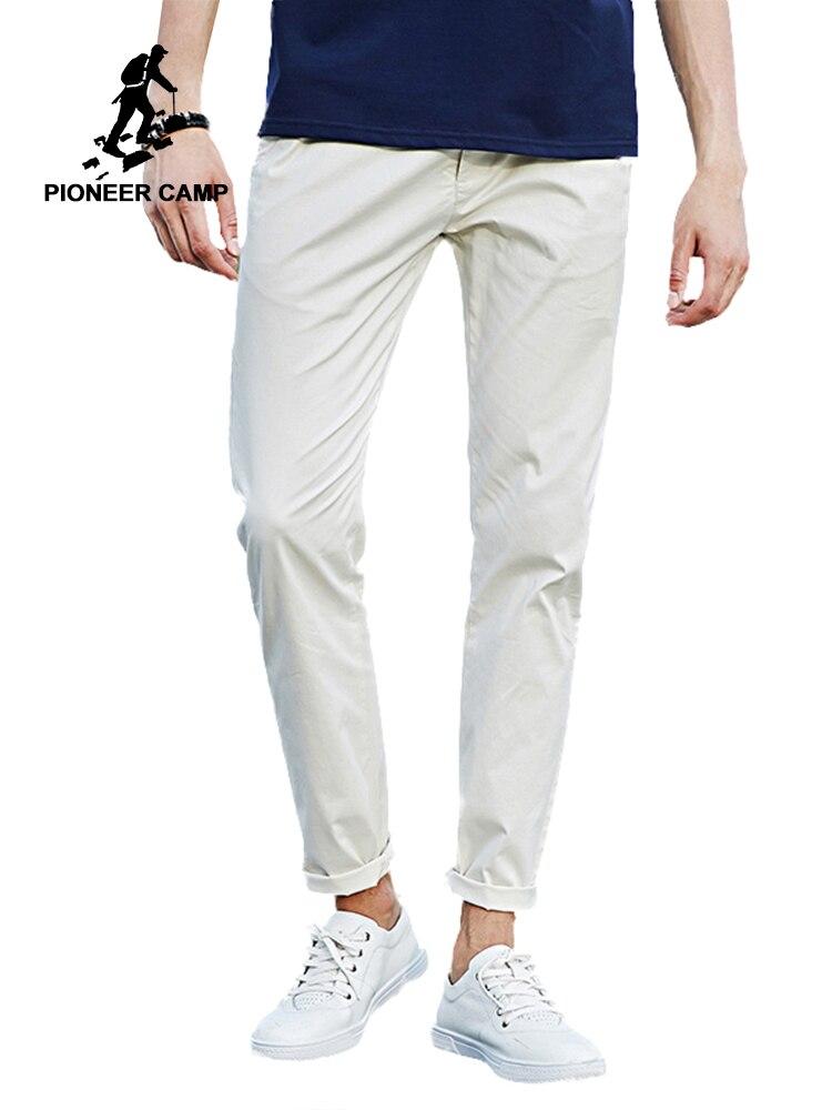 Пионерский лагерь повседневные штаны для мужчин мужские хлопковые брюки 2018 Новая мода бренд Slim Fit белый эластичный мужской брюки 677043