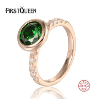 FirstQueen 100 Genuine 925 Sterling Silver High Polishing Green Crystal Finger Ring Women Wedding Jewelry
