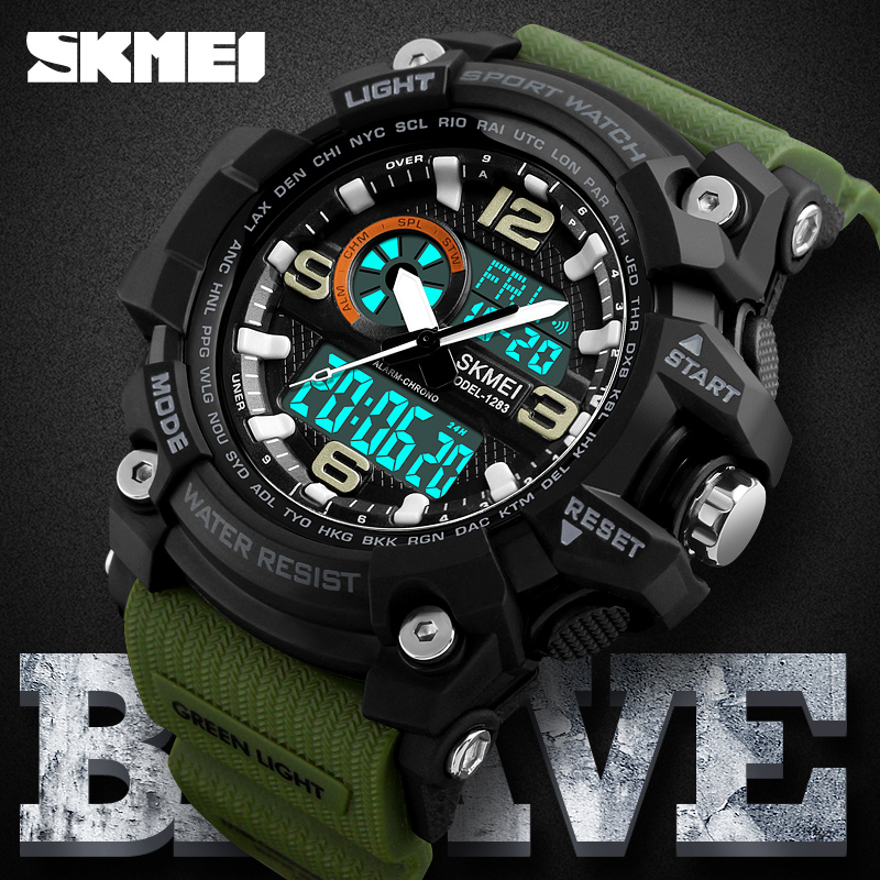 SKMEI Brand Digital & Analog Men Sports Watch Fashion Chronograph Count down Alarm Date Military Army Swim Casual LED Wristwatch