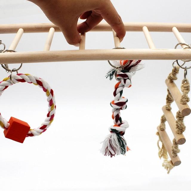 1PCS Suspension Bridge Parrot Climbing Ladder Pet Toys Birds Hamster Squirrel Cage Hanging Bridge Ladder Small pet Toys Chew Toy 4