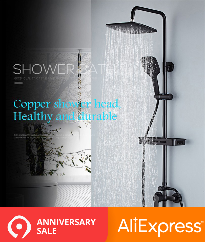 Shower Faucets Blackend Orb Waterfall Raindall Shower Head Shower Column Panel Wall Mounted Massage Jet Mixers Handshower Tub Spout Shower Comfortable And Easy To Wear