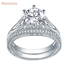 Newshe Solid 925 Sterling Silver Vintage 2 Ct Round AAA CZ Wedding Engagement Ring Bridal Set Classic Jewelry For Women 1R0050